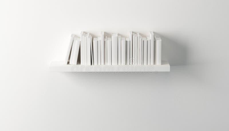 Półka z białymi książkami ilustracja wektor