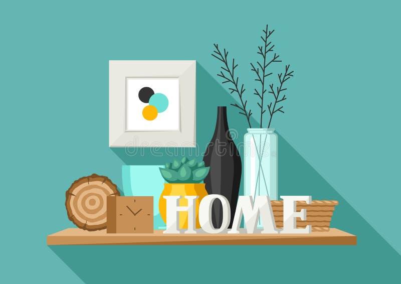 Półka z domowym wystrojem Waza, obrazek i roślina, ilustracja wektor