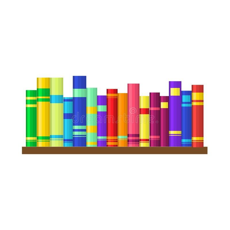Półka z kolorowymi książkami ilustracji