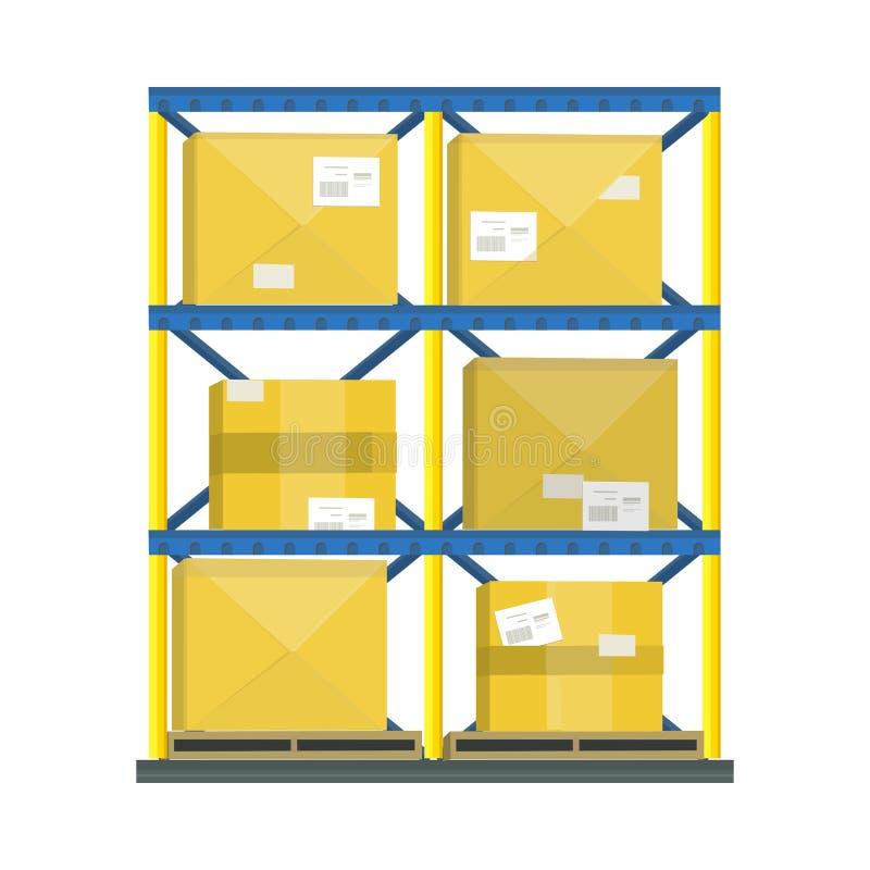 Półka z kreskówki pudełkiem ilustracja wektor