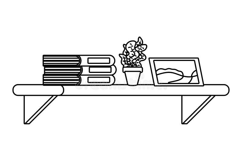 Półka z książkową rośliną i obrazek czarny i biały royalty ilustracja