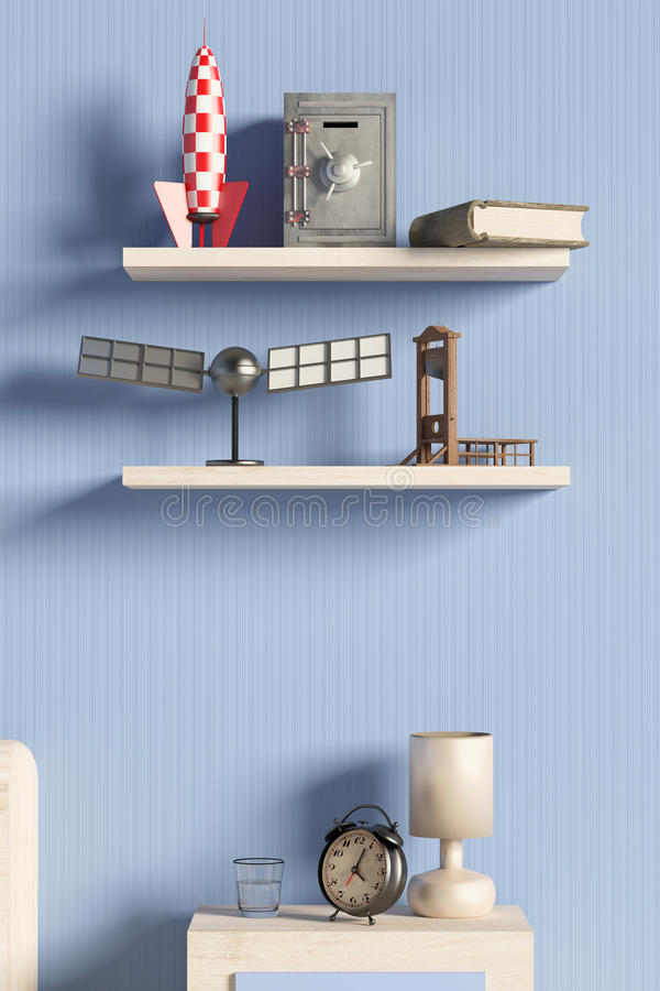 Półka z przedmiotami royalty ilustracja