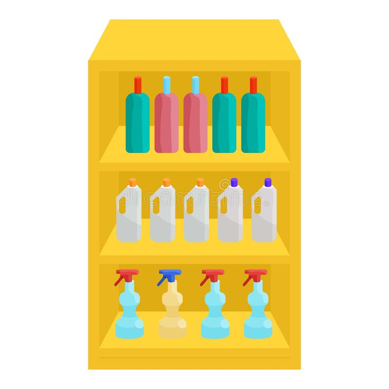 Półki w sklepie z substancjami chemicznymi ikony, kreskówka styl ilustracji