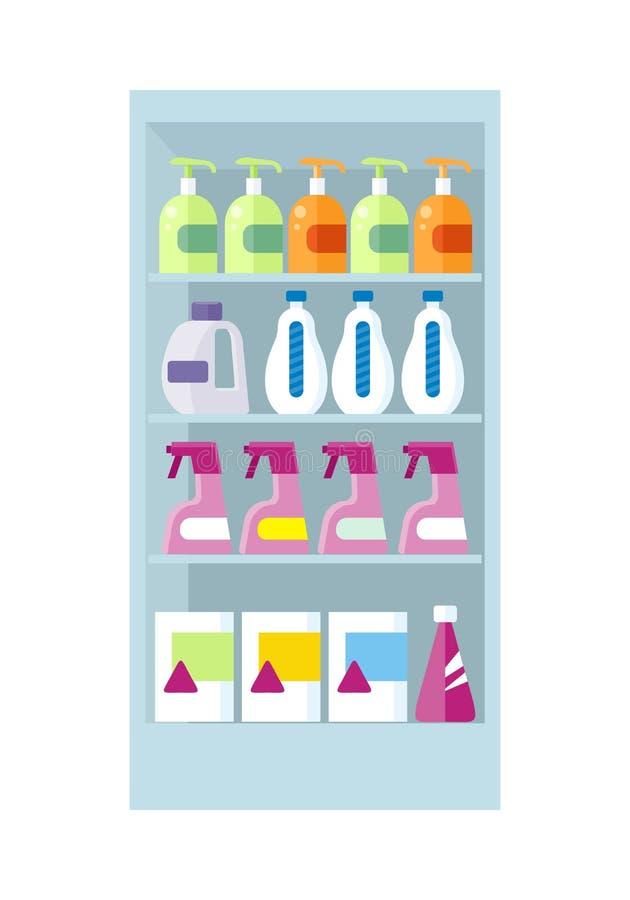 Półki z gospodarstwo domowe substancjami chemicznymi Ilustracyjnymi royalty ilustracja