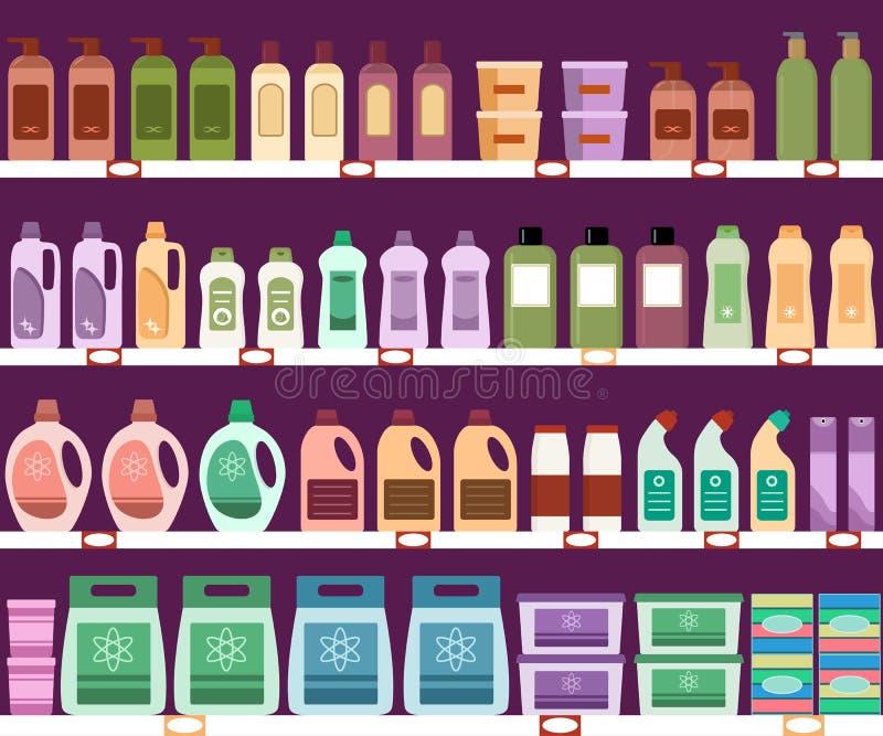 Półki z gospodarstwo domowe substancjami chemicznymi w supermarkecie ilustracja wektor
