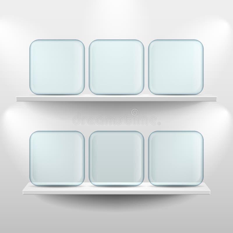Półki z szklanymi app ikonami na białym tle royalty ilustracja