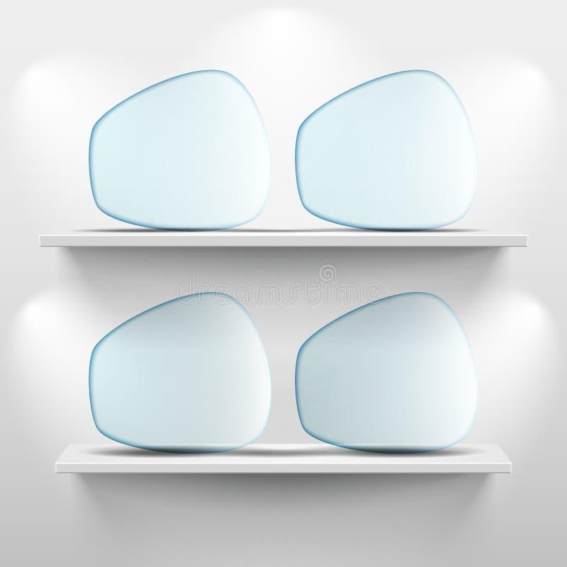 Półki z szklanymi app ikonami na białym tle ilustracji