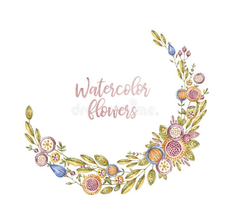 Półkole akwareli kwiaty, karciany szablon ilustracji