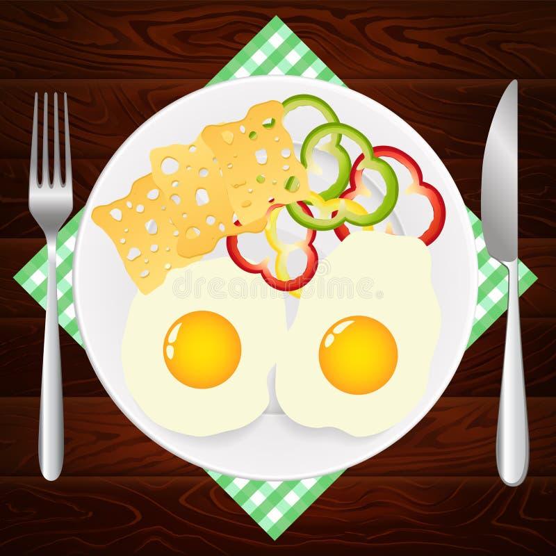 PÓŁKOWEJ NOŻOWEJ jajko SEROWEJ papryki DREWNIANA tekstura ilustracji