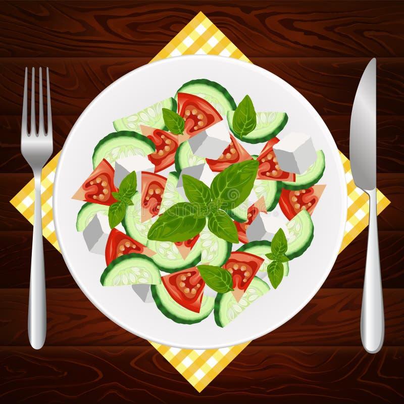 PÓŁKOWEJ rozwidlenie NOŻOWEJ diety FETA GRECKI basil ilustracji