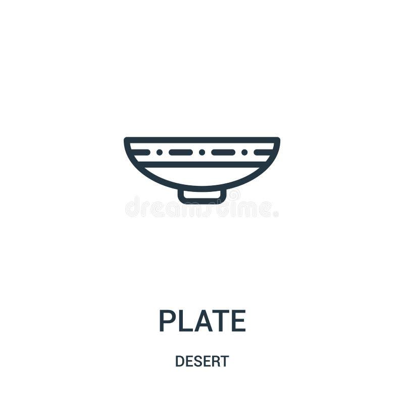 półkowy ikona wektor od pustynnej kolekcji Cienka linia talerza konturu ikony wektoru ilustracja Liniowy symbol dla używa na siec ilustracja wektor