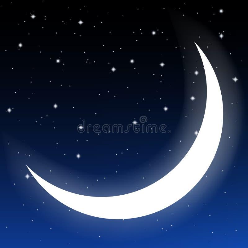 Półksiężyc księżyc i gwiazdy royalty ilustracja