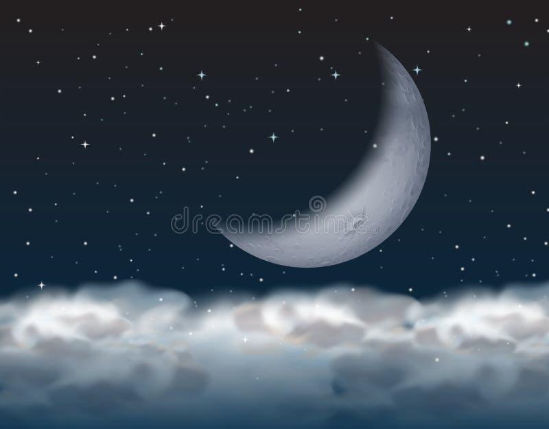 Półksiężyc księżyc nad chmura ilustracja wektor