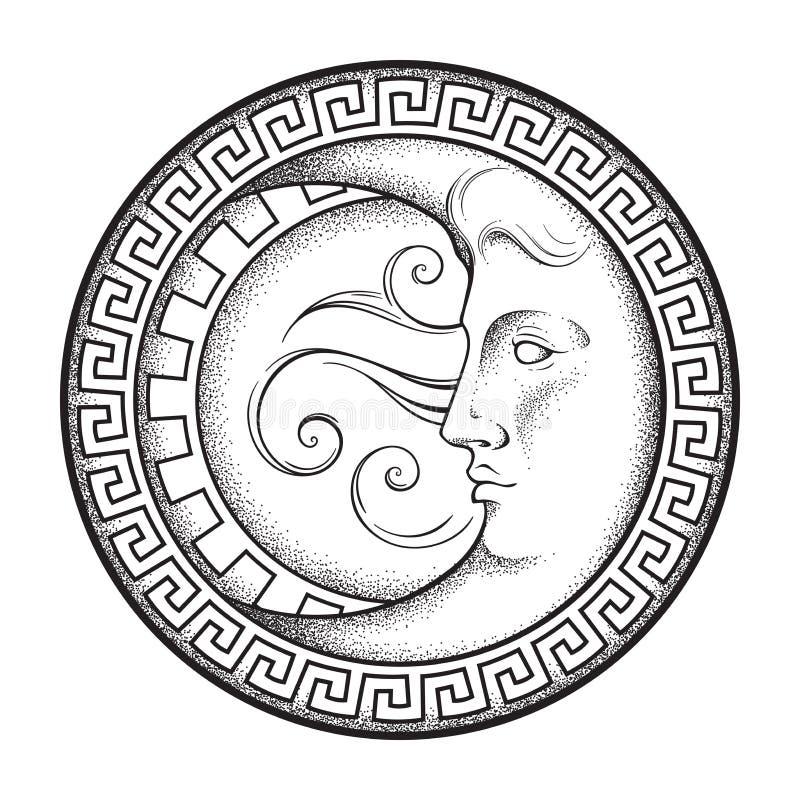 Półksiężyc księżyc w antyka stylu kreskowej sztuce, ręka rysującym dotwork i Boho sztuki modny tatuaż, plakat, druk, ołtarzowy pr royalty ilustracja