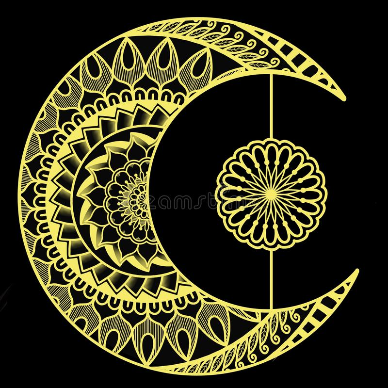 Półksiężyc księżyc z Żółtymi Mandalas ilustracji