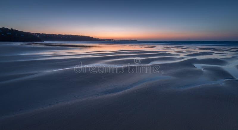 Półmrok, Gwithian piaski, Cornwall, UK zdjęcia royalty free