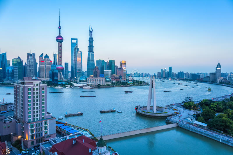 półmrok Shanghai zdjęcia royalty free