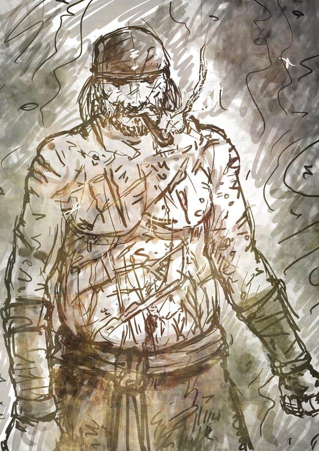 Półnagi Stary pirat z drymbą ilustracji