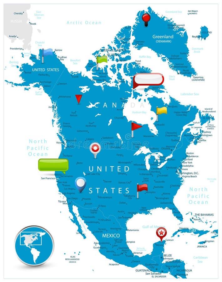 Północna Ameryka mapa i glansowane ikony na mapie ilustracja wektor