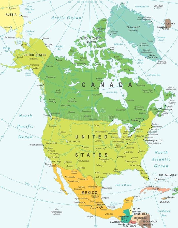 Północna Ameryka - mapa - ilustracja ilustracja wektor