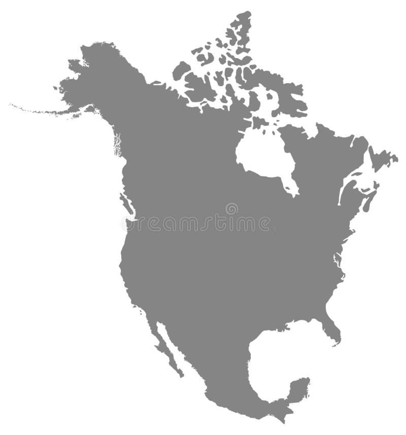 Północna Ameryka mapa - kontynent ilustracji