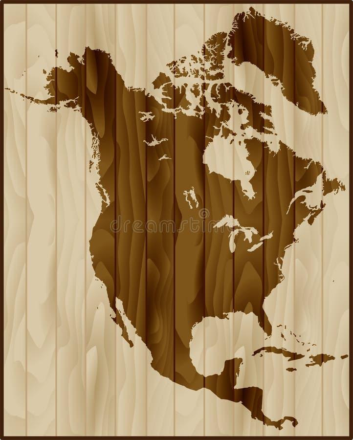 Północna Ameryka mapa na drewnianym tle ilustracja wektor