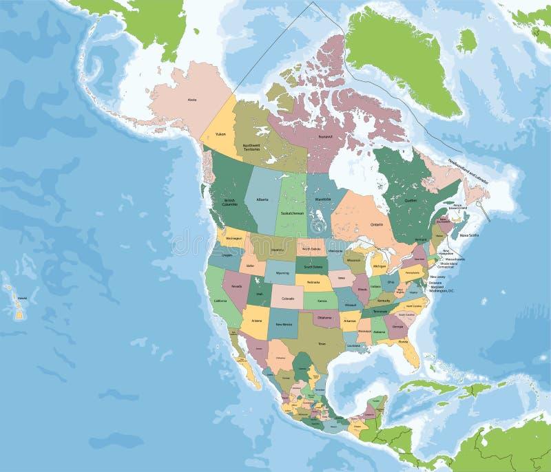 Północna Ameryka mapa z usa, Kanada i Meksyk, ilustracji