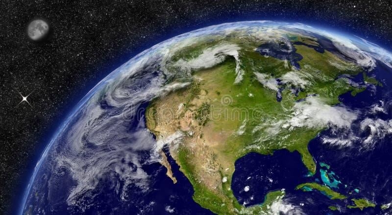 Północna Ameryka na planety ziemi ilustracja wektor