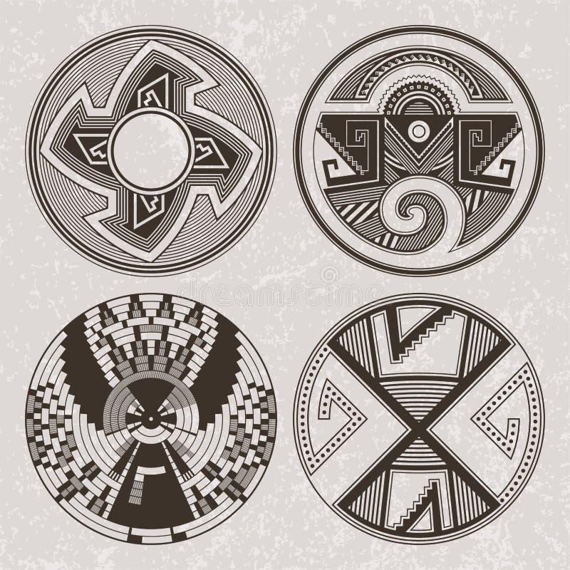 Północna Ameryka osady indianów graficzna sztuka Tatuaż i druku set ilustracji