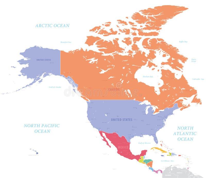 Północna Ameryka wektorowa mapa royalty ilustracja