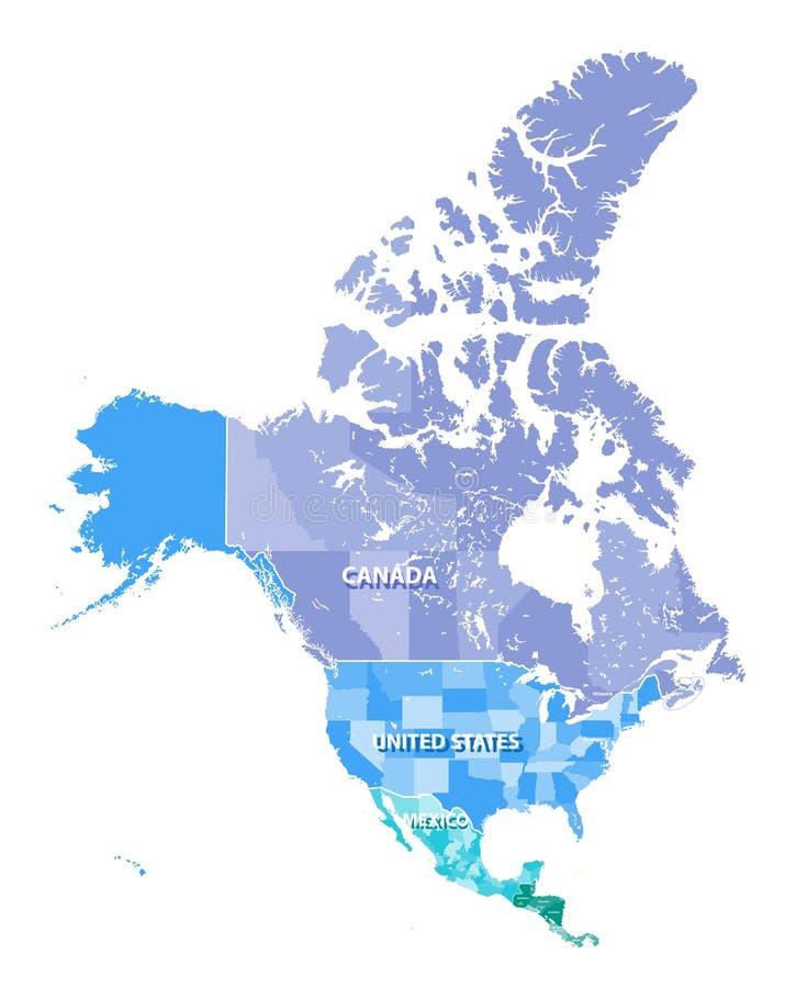 Północna Ameryka wysokość wyszczególniał wektorową mapę z stan granicami Kanada i Meksyk, usa ilustracja wektor