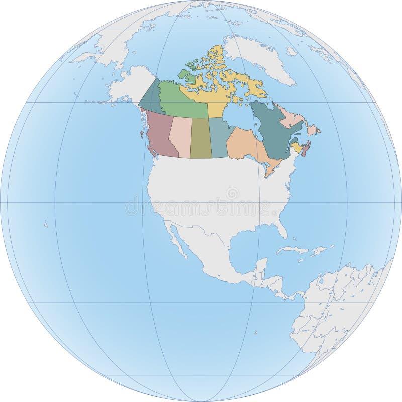 Północna Ameryka z Kanada na kuli ziemskiej royalty ilustracja