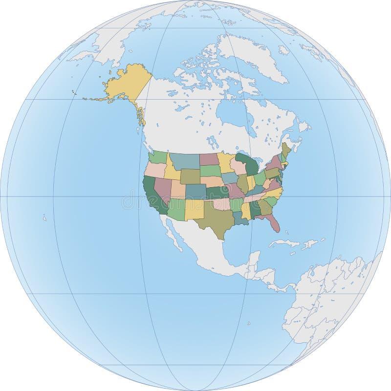 Północna Ameryka z usa na kuli ziemskiej ilustracji