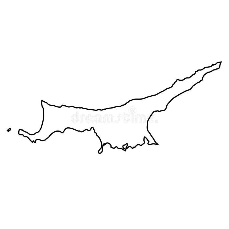 Północna Cypr mapa czerń kontur wygina się na białym tle royalty ilustracja