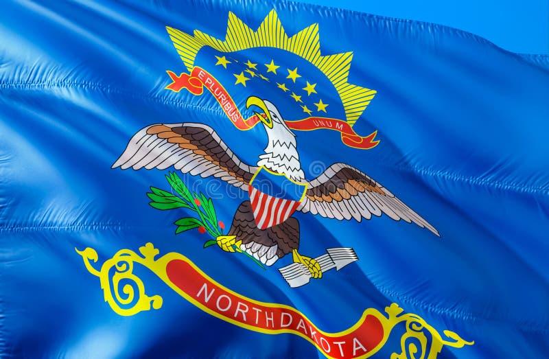 Północna Dakota flaga 3D falowania usa stanu flagi projekt Obywatel USA symbol Północny Dakota stan, 3D rendering kolor krajowych obrazy royalty free