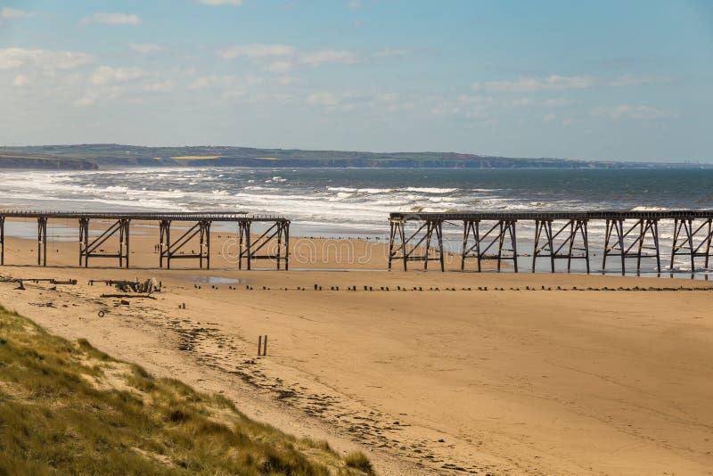 Północna piasek plaża, Hartlepool, UK obraz royalty free