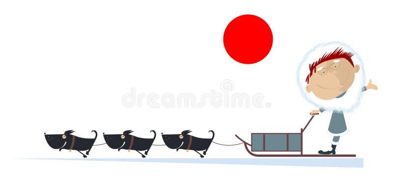 Północne mężczyzna przejażdżki na sanie psie ilustracja wektor