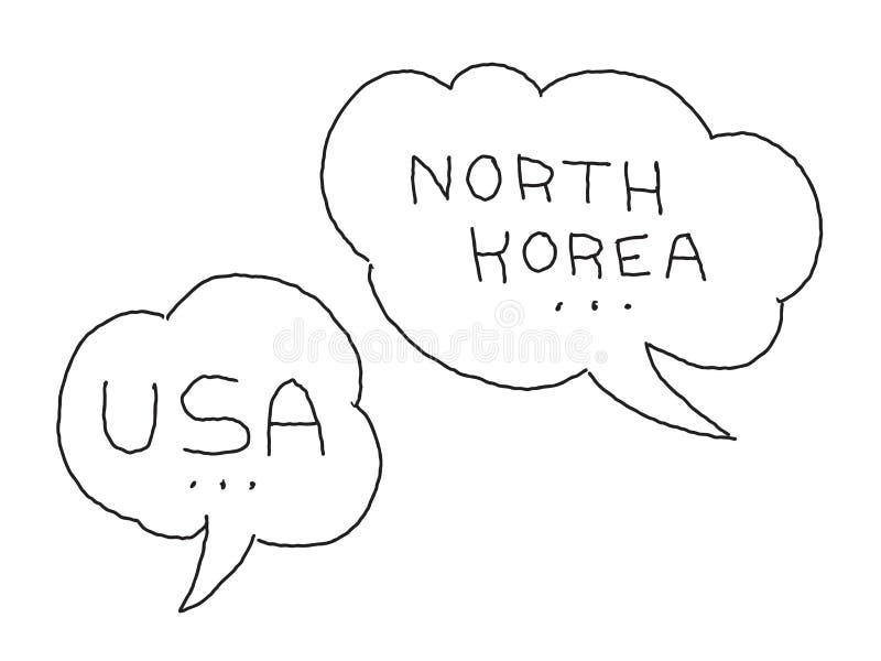 Północnego Korea i usa dialog bąbel Międzynarodowy konflikt Ręka rysująca wektoru zapasu ilustracja ilustracja wektor