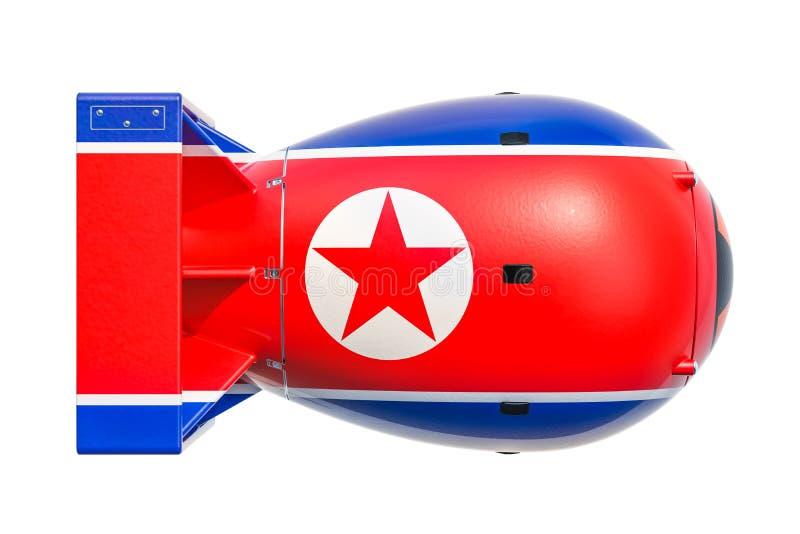 Północnego Korea jądrowej broni pojęcie, 3D rendering ilustracji