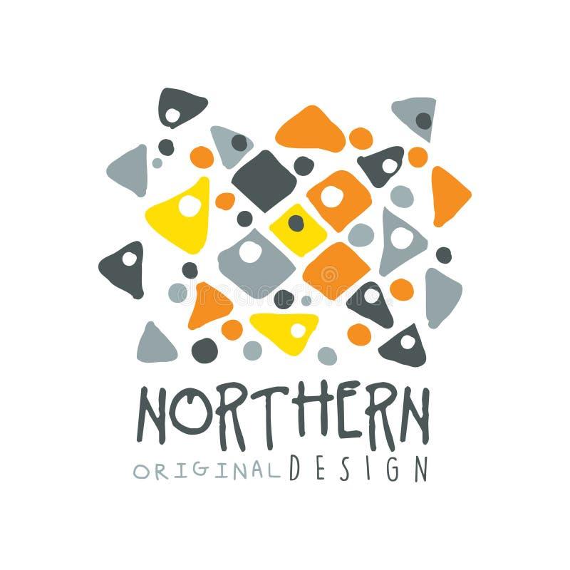 Północnego loga szablonu oryginalny projekt, odznaka dla północnej podróży, sport, wakacje, przygoda kolorowa ręka rysujący wekto ilustracja wektor