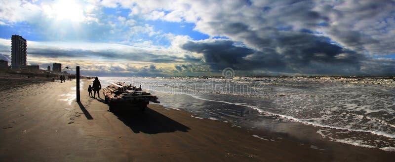 Północnego morza zima w Zandvoort obrazy royalty free