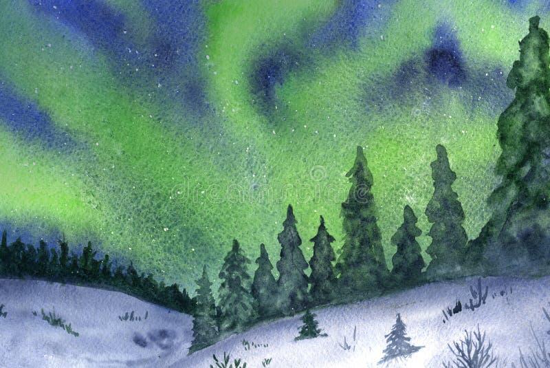 Północni światła, śnieg i las, ilustracja wektor