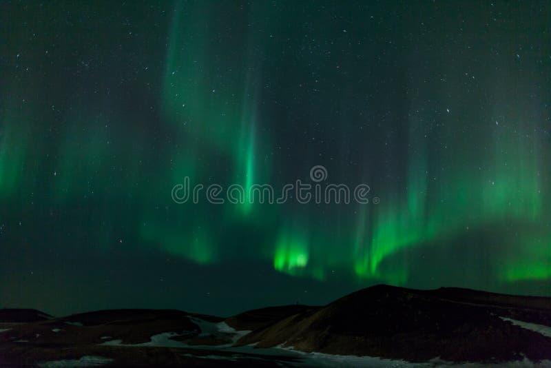 Północni światła nad kraterami w Iceland obraz royalty free