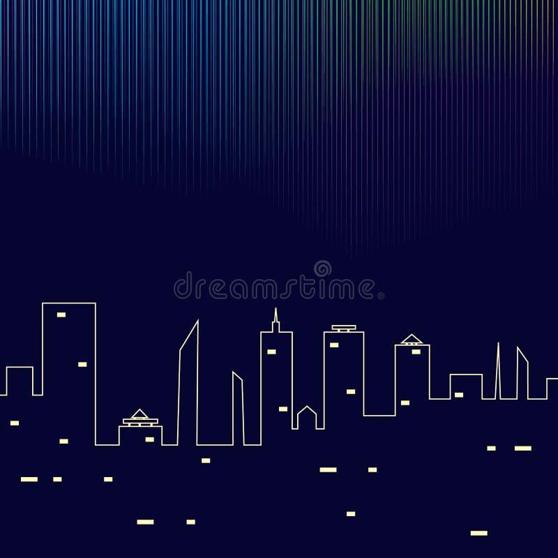 Północni światła nad nocy miasta budynkami również zwrócić corel ilustracji wektora ilustracji