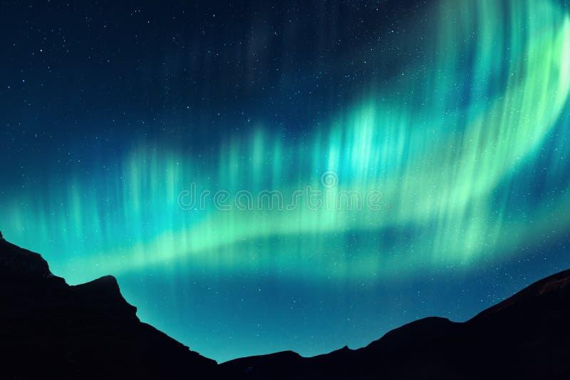 Północni światła w zim górach zdjęcia royalty free