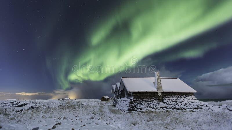 Północni światła w zimie obraz royalty free