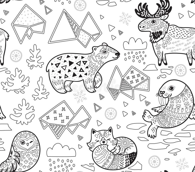 Północni zwierzęta, geometryczna góra lodowa i góra wektoru wzór w konturze, royalty ilustracja