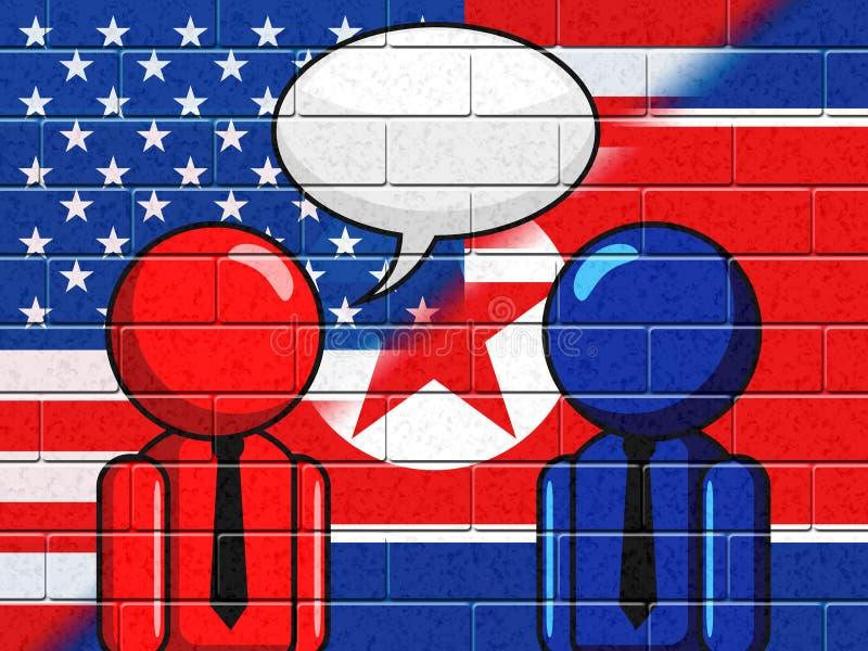 Północno-koreańska Amerykańska rozmowy mowy bąbla 3d ilustracja royalty ilustracja