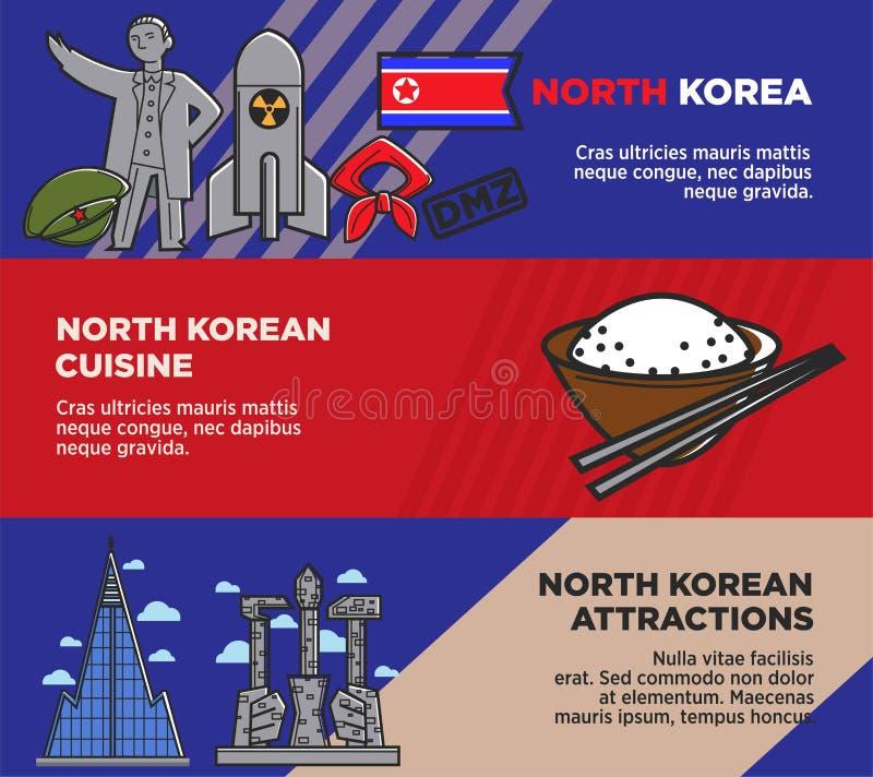 Północno-koreańska kuchnia i przyciąganie promocyjni plakaty ustawiający royalty ilustracja