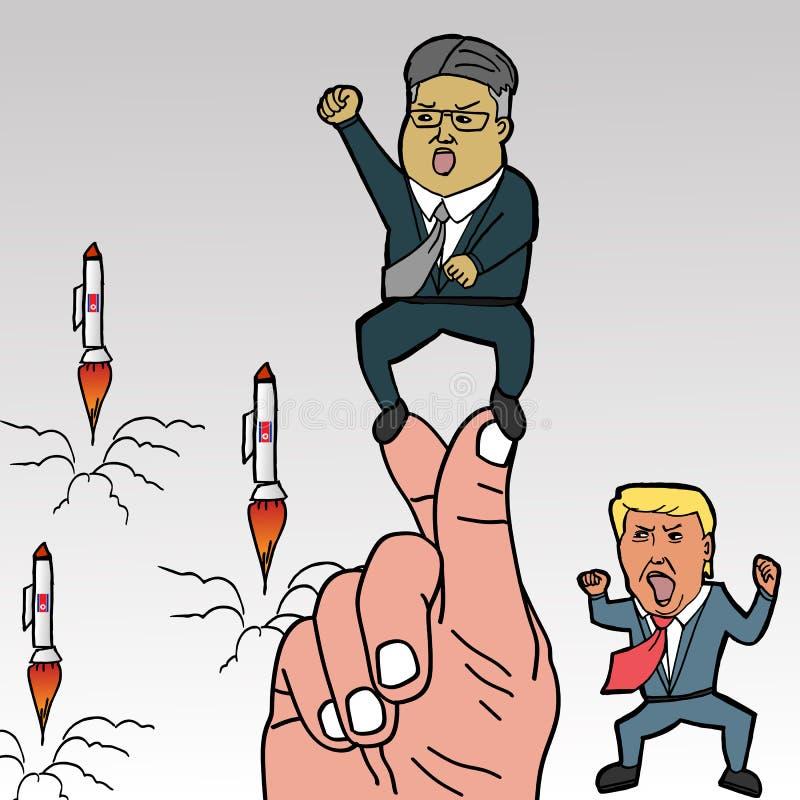 Północno-koreański lider, Kim UN na koreańskich palcach projektuje z rakietami i Donald atutem Maj 22, 2018 ilustracji